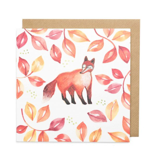 fox greeting card illustration watercolour