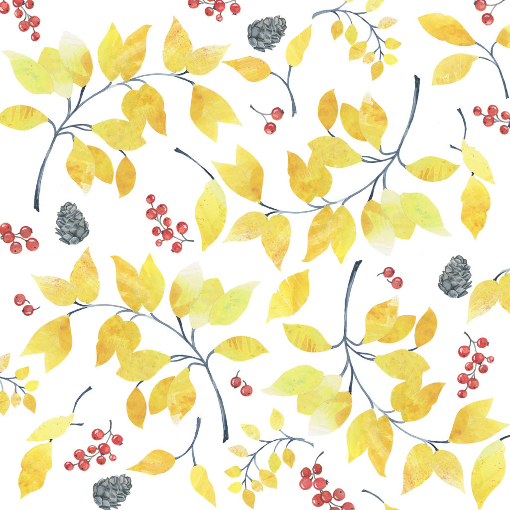 illustration autumn leaves print watercolour painting stationery greetings card
