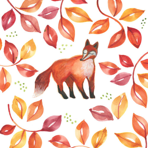 fox illustration autumn leaves print watercolour painting stationery greetings card