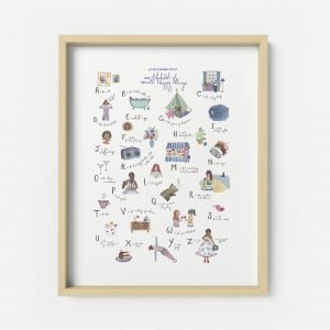 alphabet print illustration happy things