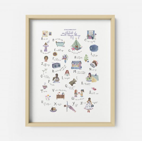 alphabet print illustration happy things