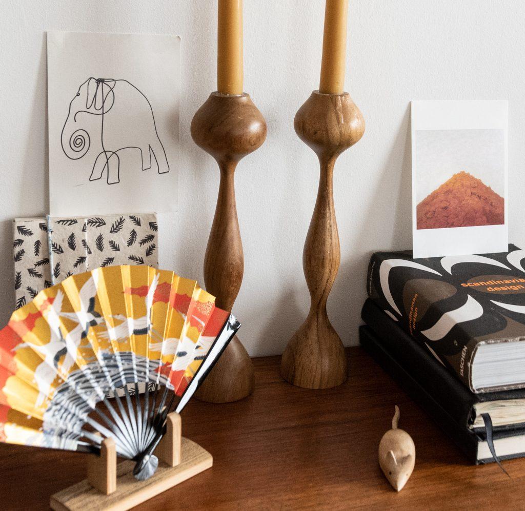 product prop styling autumnal rustic decor wooden candlesticks japanese fan kanazawa