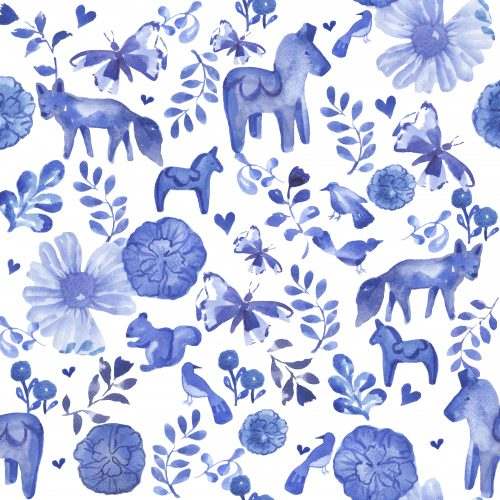 dala horse blue white childrens fabric decor print