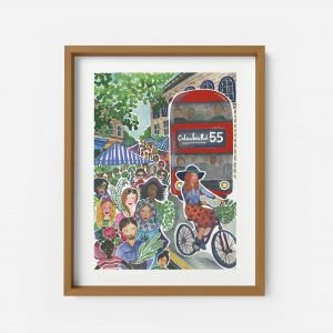 columbia road print painting illustration flower market