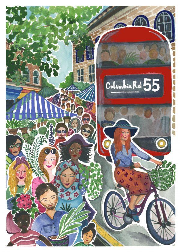 columbia road flower market london illustration