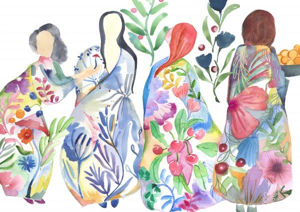 seasons winter summer spring autumn watercolour print floral nature textile