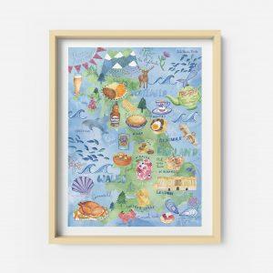 food map british poster illustration