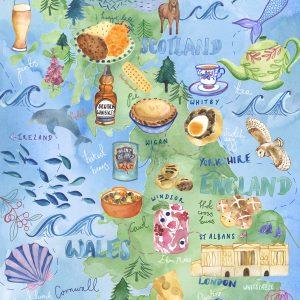 food map british isles favourite foods famous illustration watercolour kitchen print