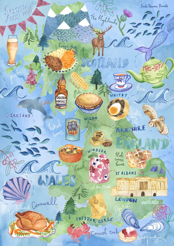 food map british isles favourite foods famous illustration watercolour kitchen print