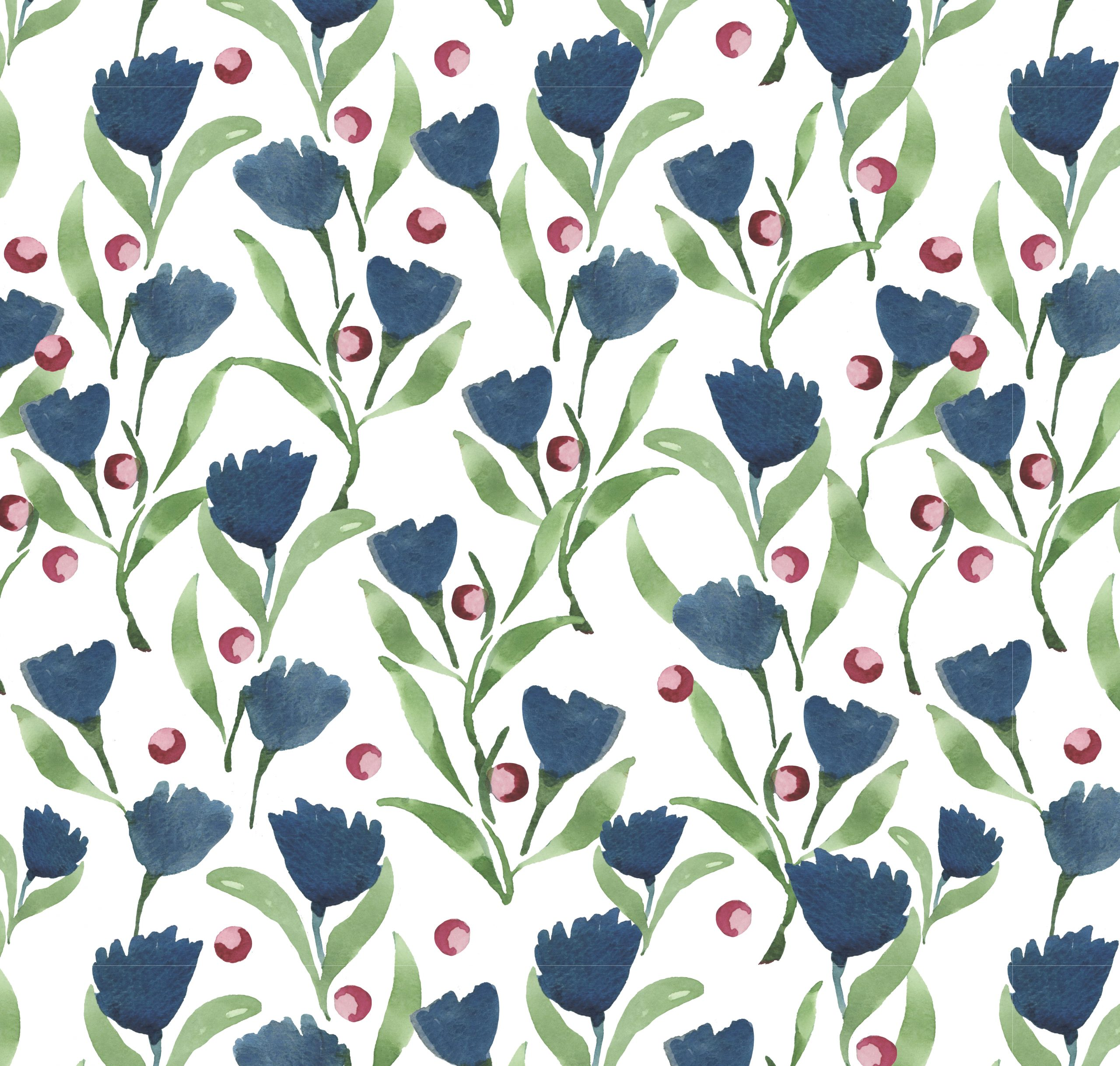 blue flowers print handpainted floral botanical wrapping paper wallpaper fabric