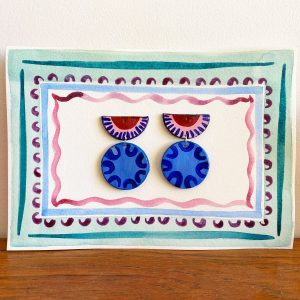 clay earrings hand painted folk bohemian jewellery
