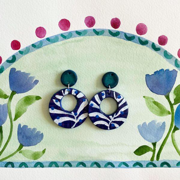clay earrings handpainted folk bohemian