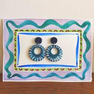 earrings clay handpainted bohemian folk