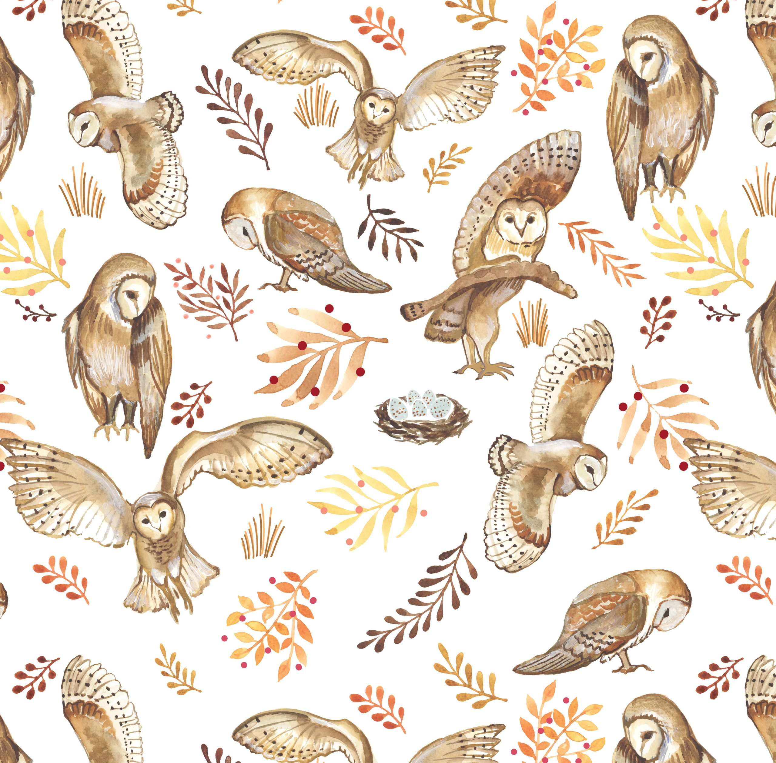 owls print woodland