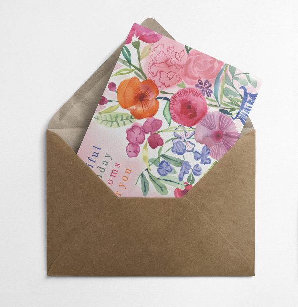 floral birthday card watercolour
