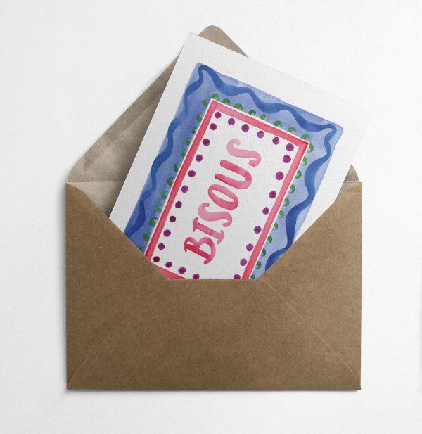 greeting card carte de voeux bisous watercolour