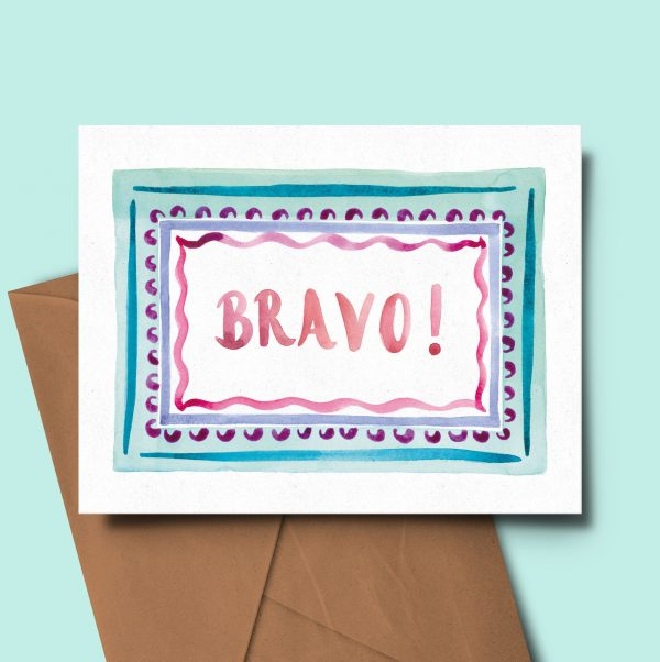 greeting card watercolour congratulations well done