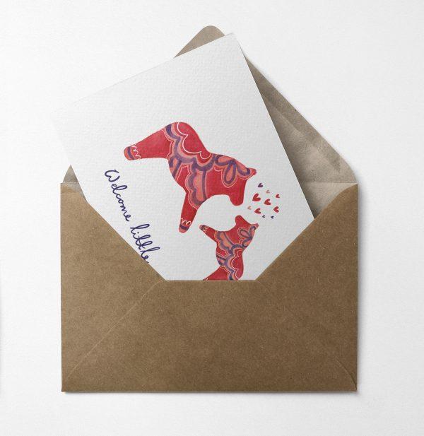 greeting card new baby dala horse