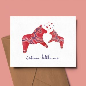 greeting card new baby dala horse