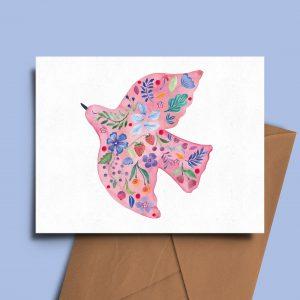 greeting card floral folk bird