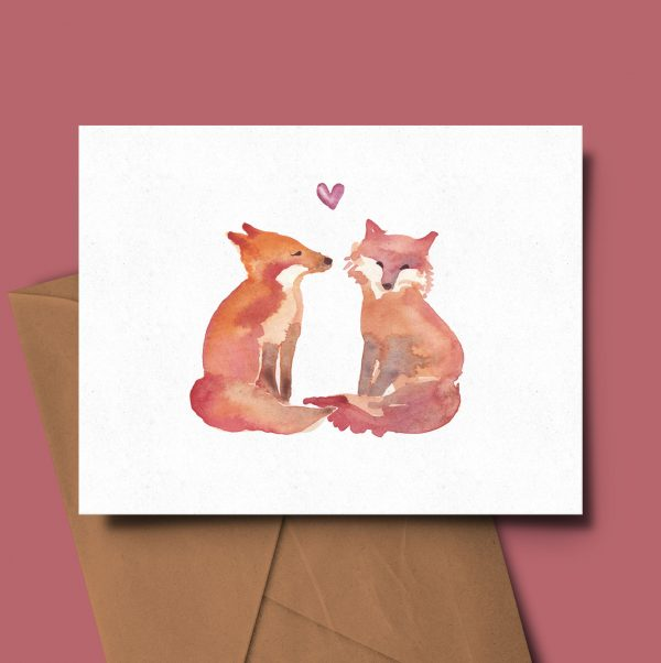 greeting card fox animal valentines day