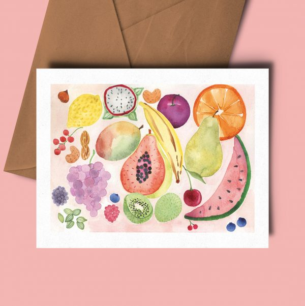 greeting card fruit watercolour