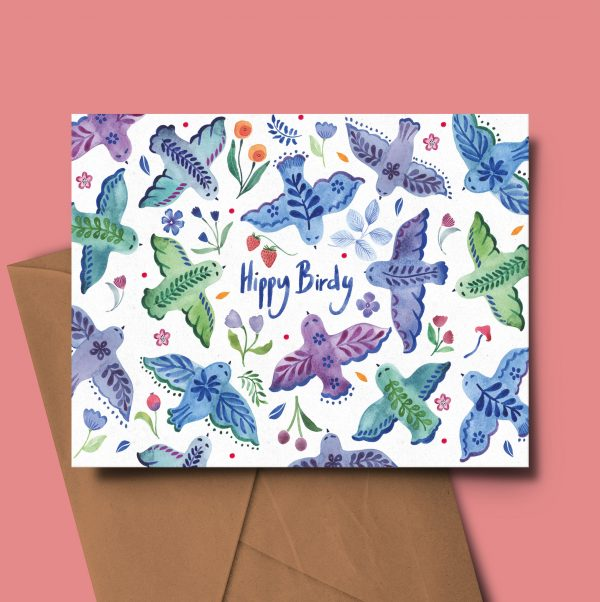 floral greeting card birthday folk birds