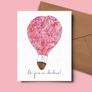 floral greeting card hot air balloon adventure