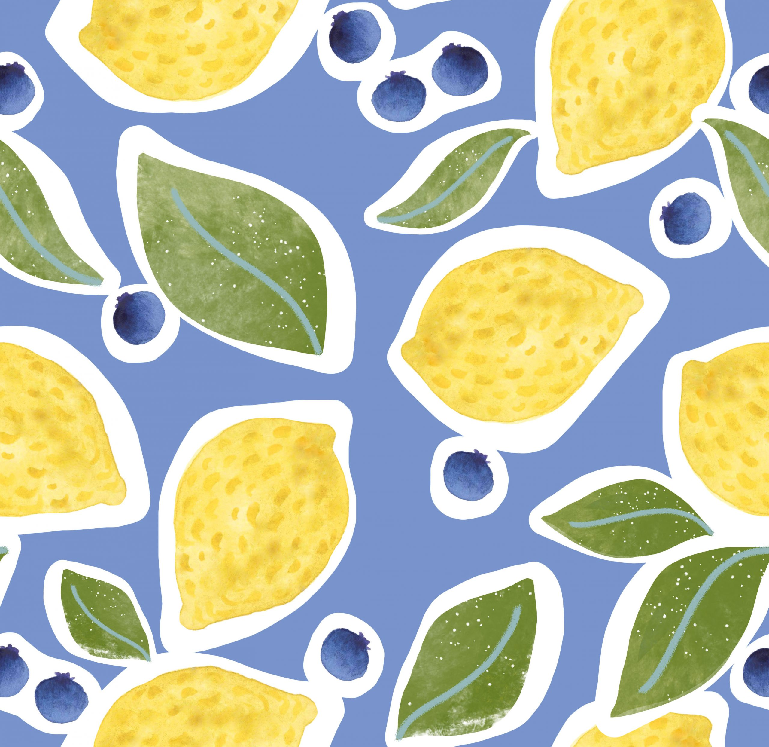 fruit print pattern lemon blueberry