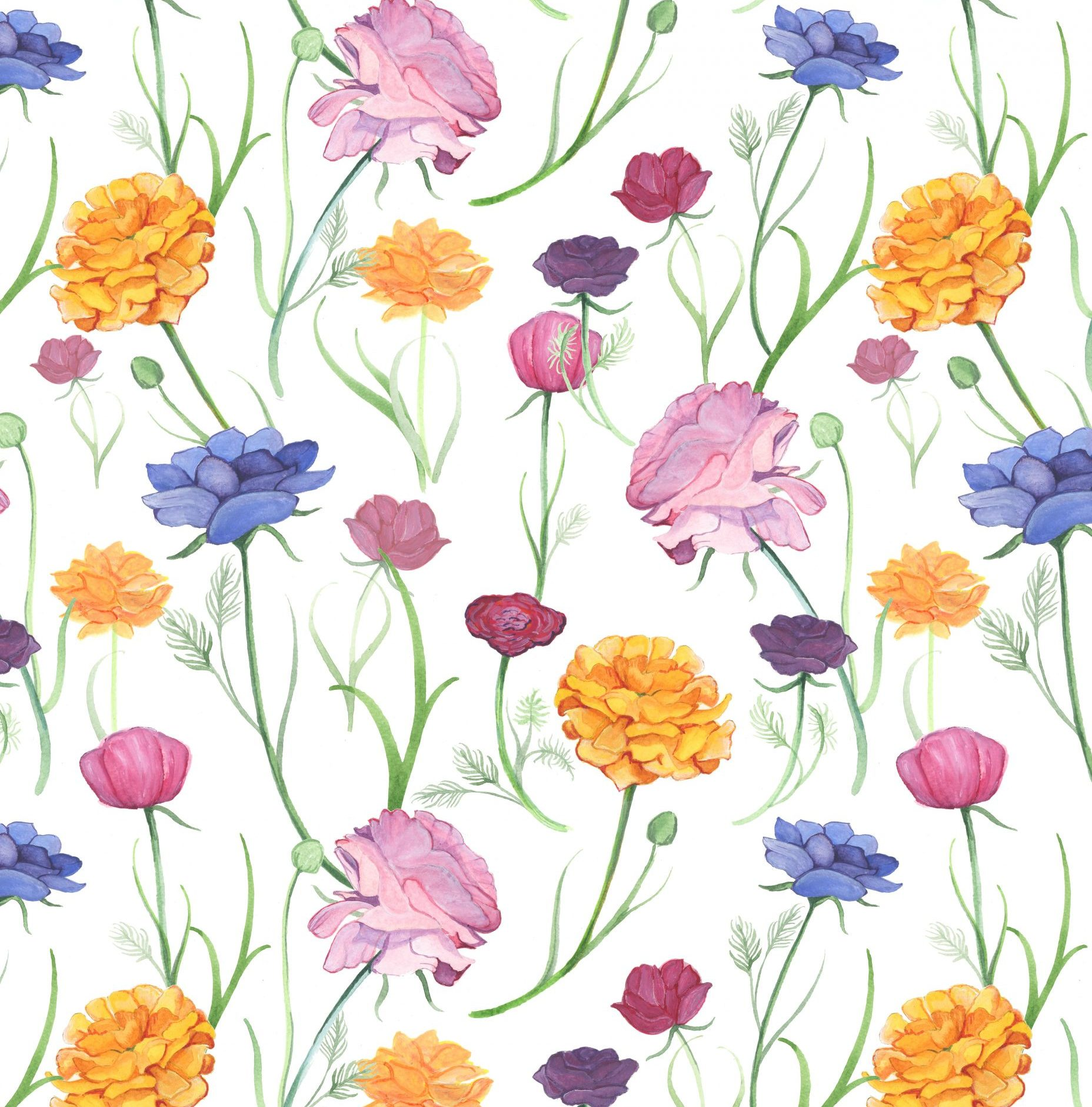 floral pattern repeat fabric