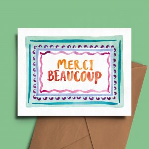 merci beaucoup thank you card greeting carte de voeux