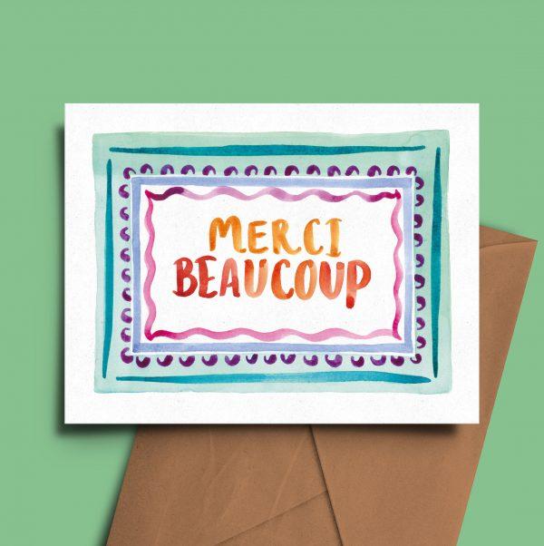 merci beaucoup thank you card greeting carte de voeux