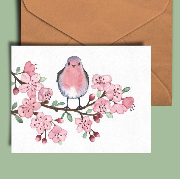 robin bird floral greeting card