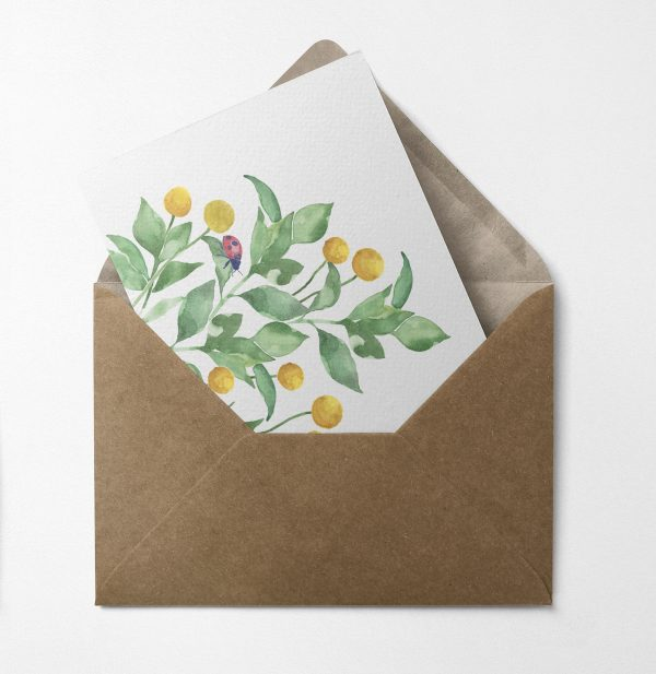 lady bird natural floral greeting card