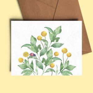 lady bird natural floral greeting card