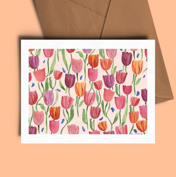 floral watercolour greeting card tulips