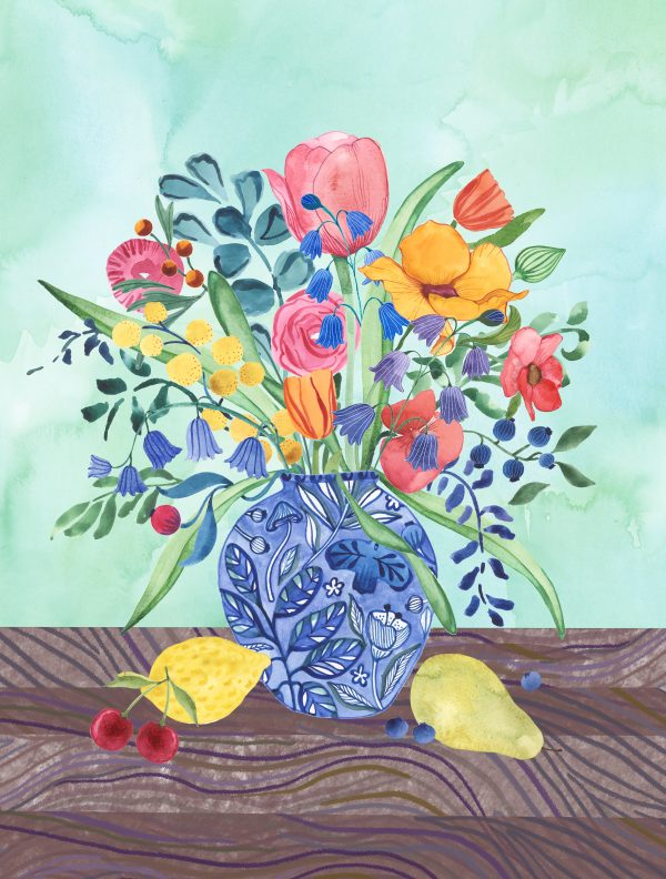 vase floral flowers art print