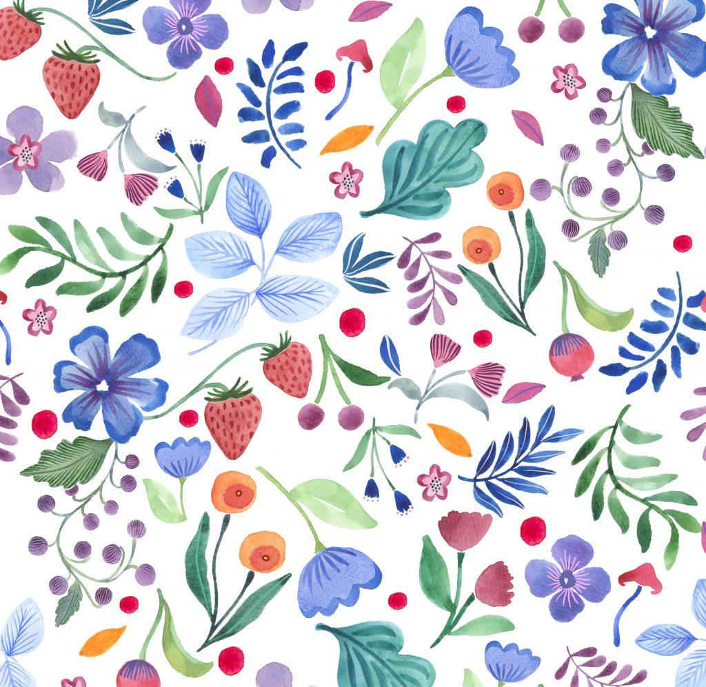 pattern wild children woodland nature floral berries