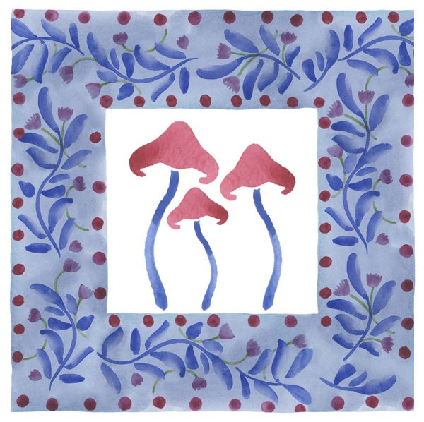 mushrooms folk floral watercolour print childrens decor