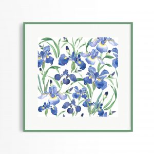 irises watercolour print painting floral