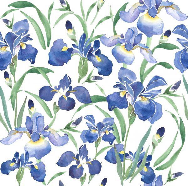 irises floral print