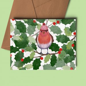 christmas card robin holly