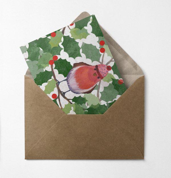 christmas card robin holly