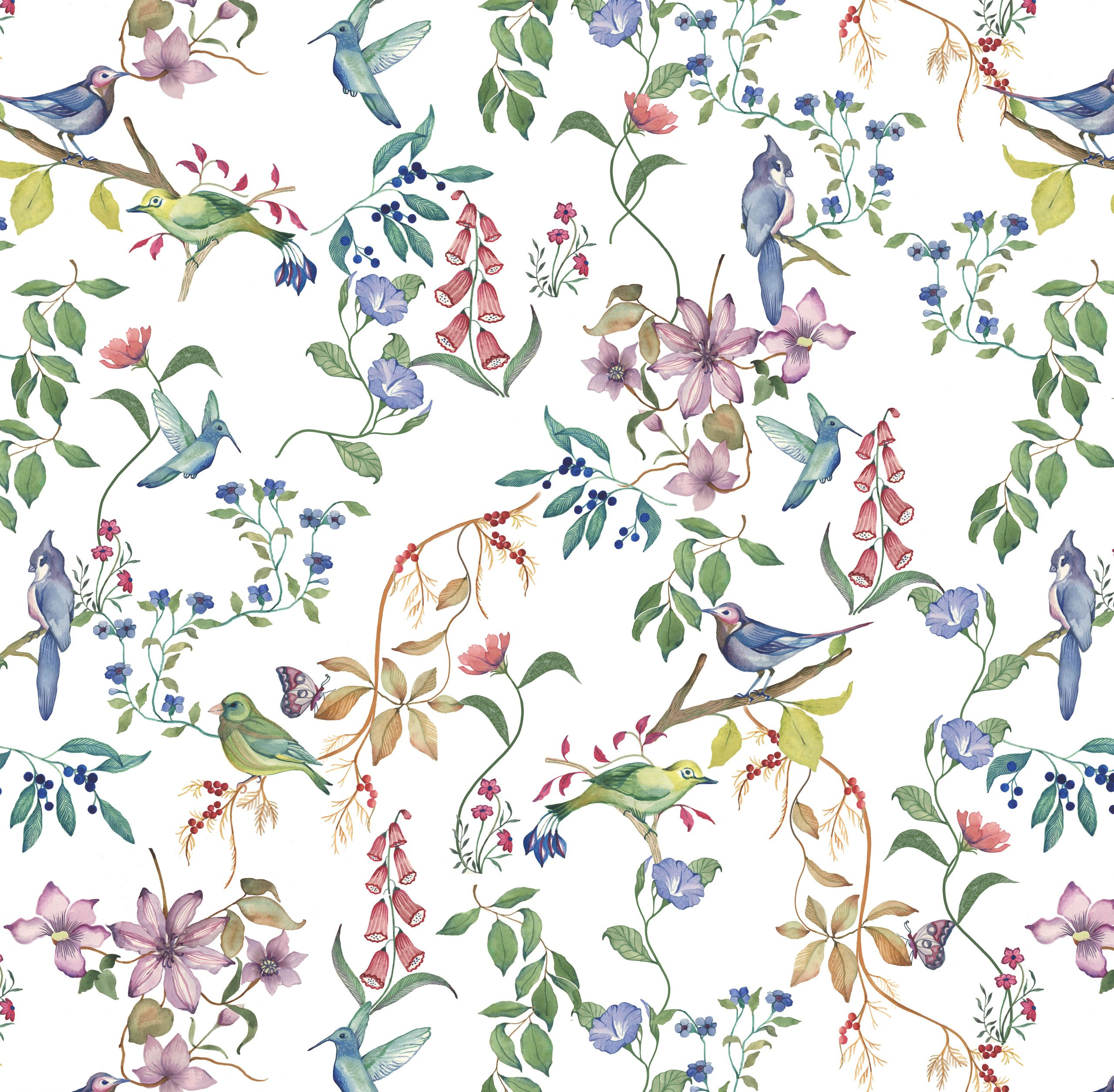 floral bird print wallpaper fabric