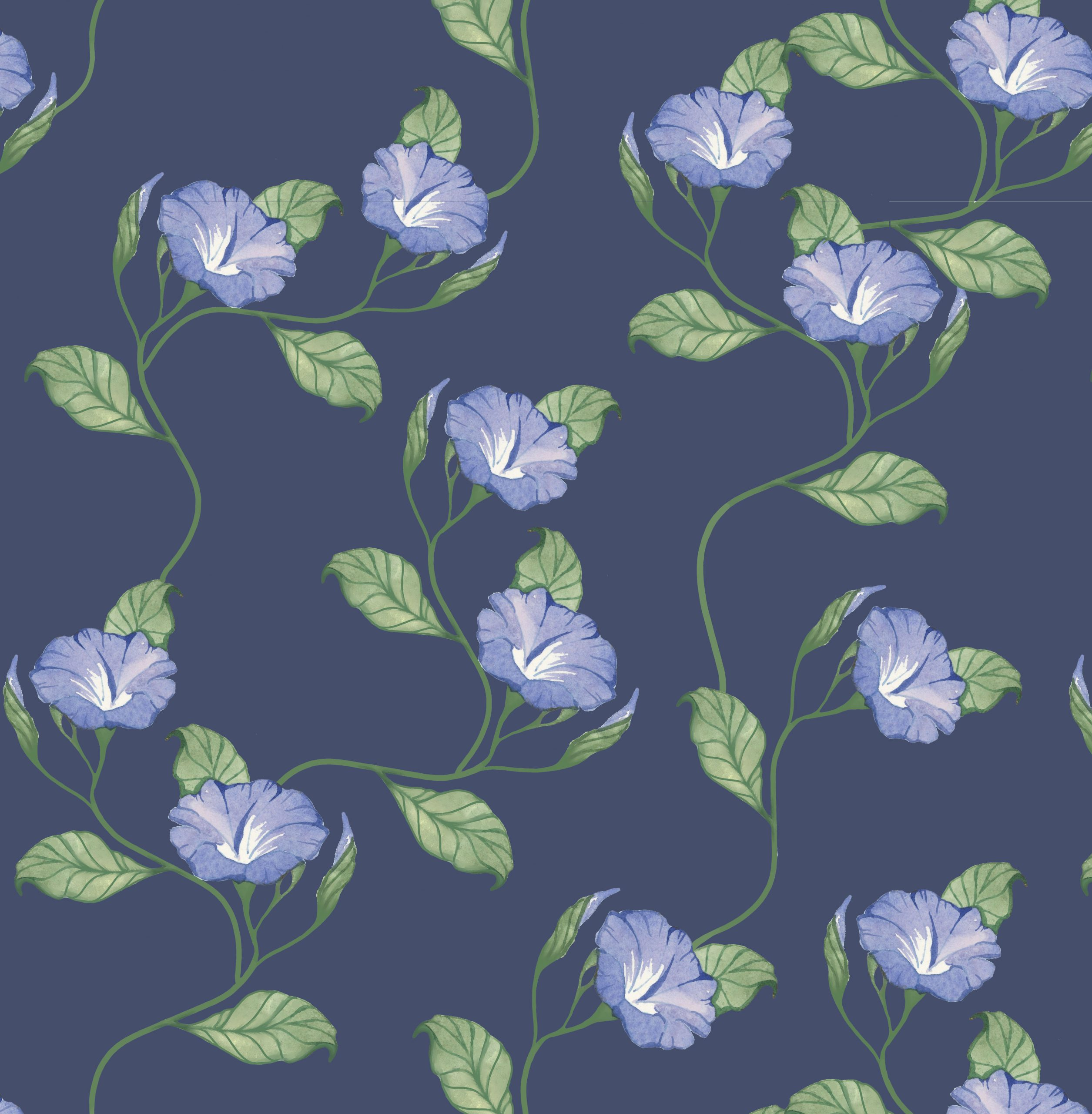 morning glory floral wallpaper fabric