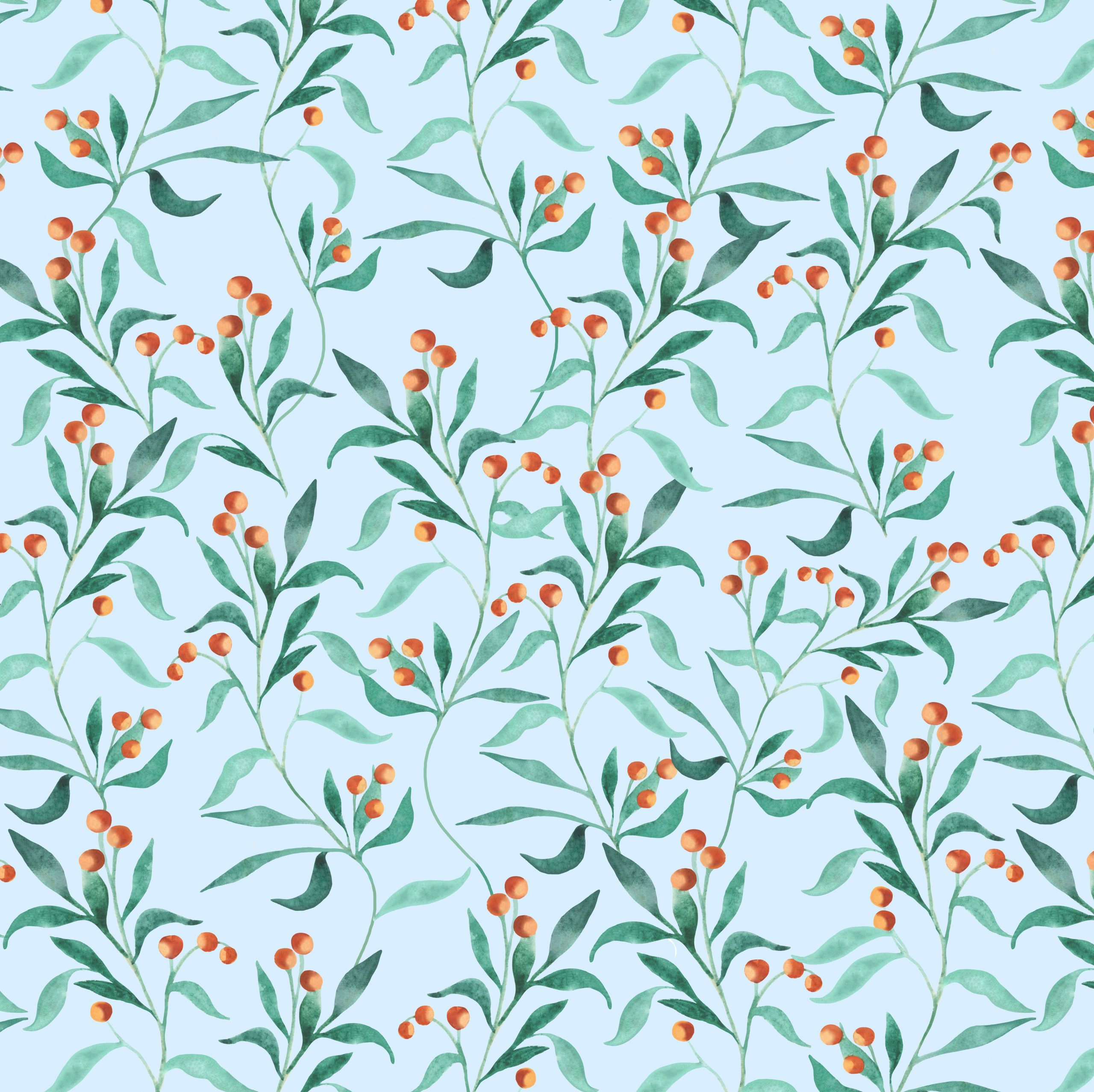 berries leaves botanical wallpaper fabric