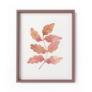 autumn oak leaf botanical watercolour print
