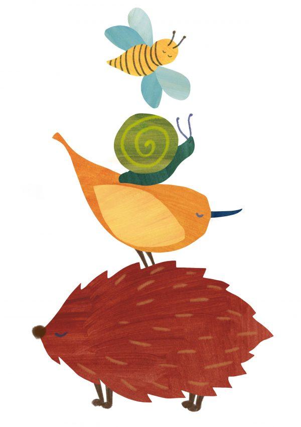 hedgehog bird snail bee illustration childrens print
